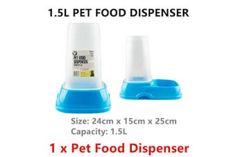 Pet Food Dispenser 1.5L Snack Feed Water Container Dog Cat Puppy Feeder Fountain