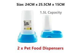 2 x Pet Food Dispenser 1.5L BPA Free Treat Auto Self Feeder Container Dog Cat