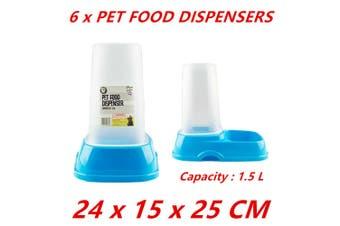 6 x 1.5L Automatic Pet Food Dispenser Dog Cat Feeder Water Puppy Self Feeding