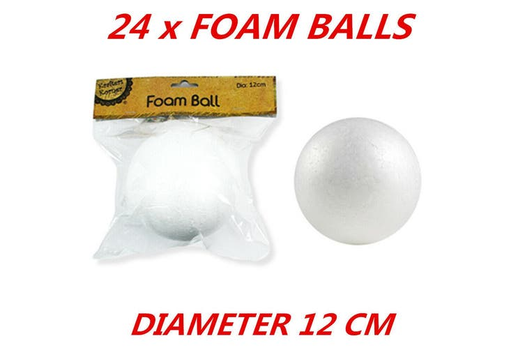24 x Diameter 12cm Large White Polystyrene Styrofoam Foam Ball Craft Millinery DIY