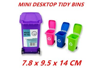 4 x Mini Wheelie Bin Desk Tidy Office Desktop Stationery Organiser Pencil Holder