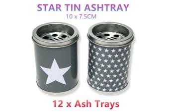 12 x Metal Tin Ashtrays 10x7.5CM Ash Tray Bucket Can Smoke Cigarette Butt Table