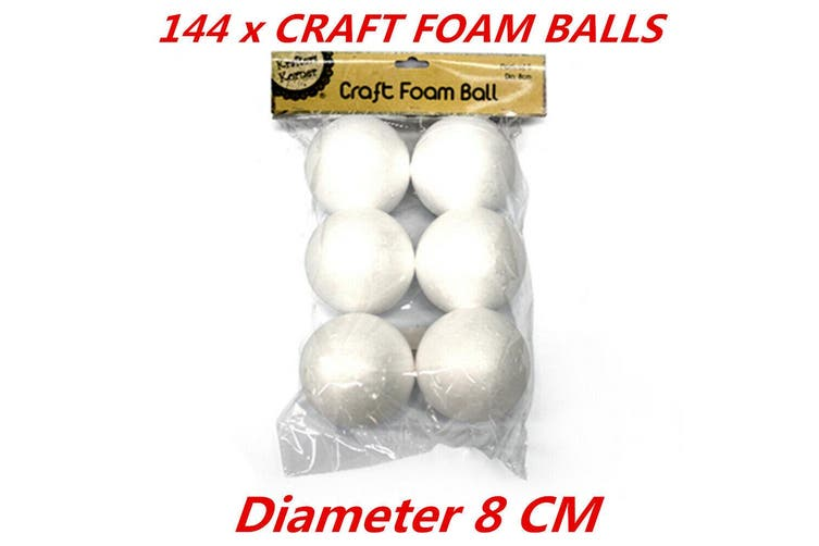 Diameter 8cm Med Large White Polystyrene Styrofoam Foam Ball Craft Millinery DIY