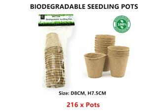 216 x Biodegradable Seedling Pot Flower Vege Planter Seed Starter Pots Vase Bag
