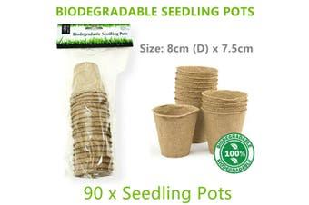 90x Biodegradable Seedling Pot 8x7.5CM Small Garden Planter Vase Eco Vege Flower