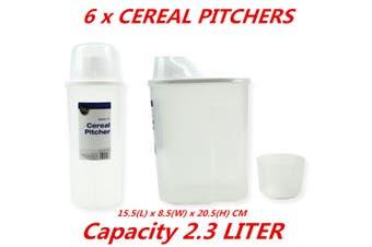 6 x 2.3L Plastic Cereal Dispenser Storage Box Kitchen Food Grain Rice Bean Container