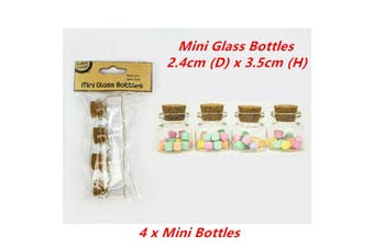 4 x Mini Decoration Glass Bottles Cork Stopper Lid 14ml Clear DIY Small Tiny Storage
