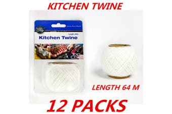 12 x Cotton Kitchen String Twine Butcher's Twine Food Grade Polyester Cooking 64m