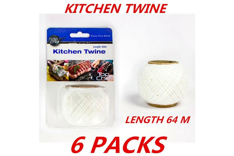 6 x Cotton Kitchen String Twine Butcher's Twine Food Grade Polyester Cooking 64m