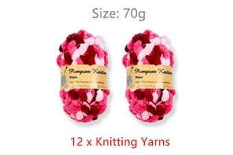 12 x 70g Pink Pompom Chenille Yarn 100% Polyester Knitting Thread Soft Craft Sew