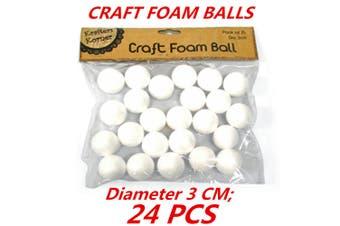 24 x Diameter 3cm Mini SML White Polystyrene Styrofoam Foam Ball Craft Millinery DIY