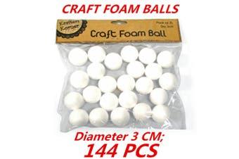 144 x Diameter 3cm Mini SML White Polystyrene Styrofoam Foam Ball Craft Millinery DIY