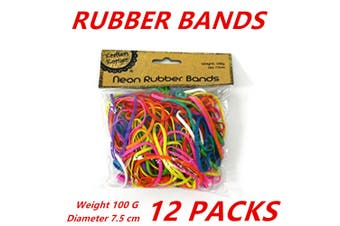 12 x Neon Rubber Bands Bags Thick Elastic Band Stretchable Gym Hair Band 100g