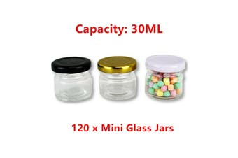 120 x Mini Round Glass Jar 30ML Preserve Candy Jam Honey Storage Container Spice