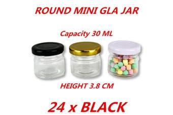 24 x Black Lid 30ml Mini Round Honey Pot Glass Jar With Color Lid Spice Lolly Jam Conserve