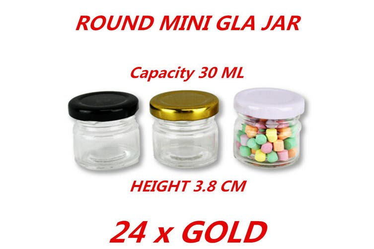 24 x Gold Lid 30ml Mini Round Honey Pot Glass Jar With Color Lid Spice Lolly Jam Conserve