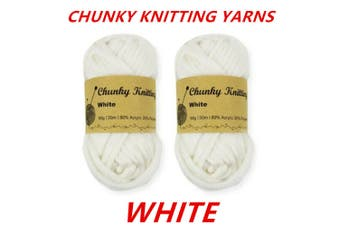10 x White 60g Soft Chunky Knitting Yarn Roving Wool Crocheting Sweater Cotton Acrylic