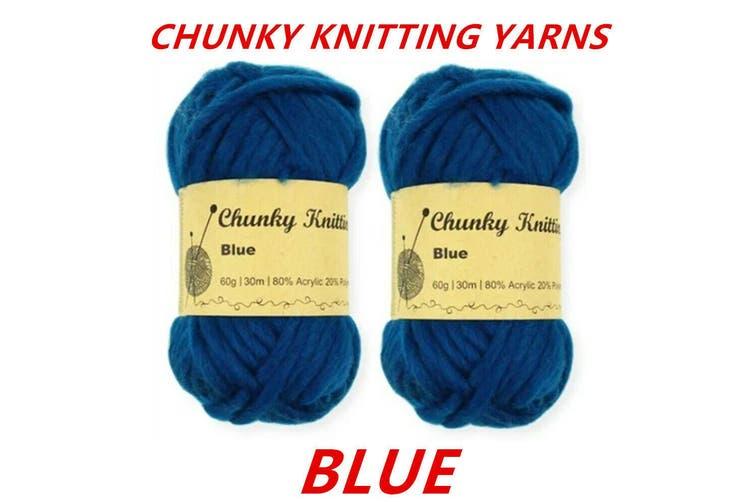 10 x Blue 60g Soft Chunky Knitting Yarn Roving Wool Crocheting Sweater Cotton Acrylic