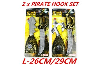 Pirate Toy Set Kids Costume Plastic Weapon Sword Hook Halloween Party Gift Game