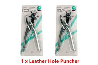 Revolving Leather 6 Hole Puncher Punch Shoe Belt Textile Eyelet Plier Craft Tool