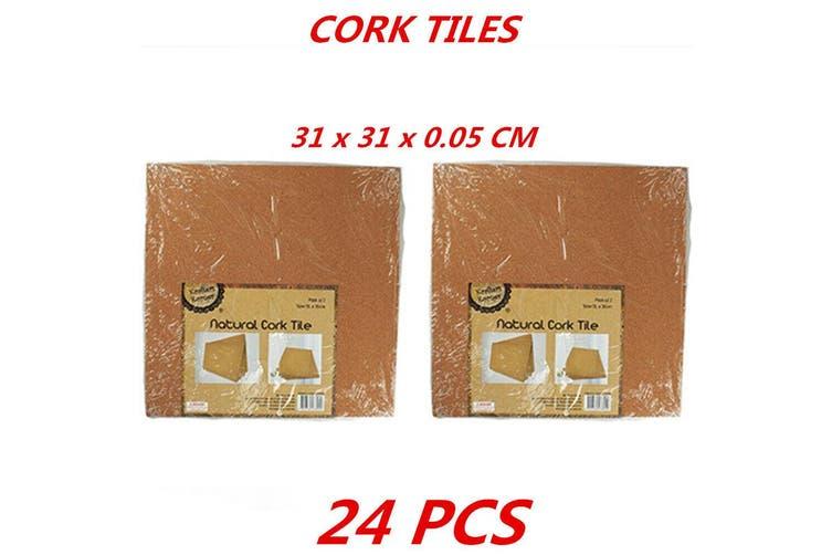 24 x Cork Tile School Projects Pin Board Craft Projects Display Pin Board 31x31cm