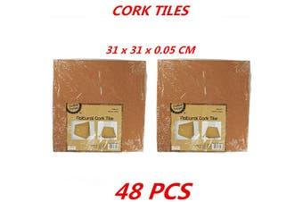 48 x Cork Tile School Projects Pin Board Craft Projects Display Pin Board 31x31cm