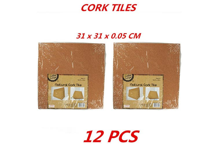 12 x Cork Tile School Projects Pin Board Craft Projects Display Pin Board 31x31cm