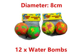 12 x Water Bomb Soak Ball Absorbent 8cm Summer Beach Party Event Throw Game Pool WM