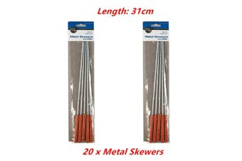20 x Metal Skewers w Handle BBQ Kebab Barbecue Roast Grill Stainless Reusable