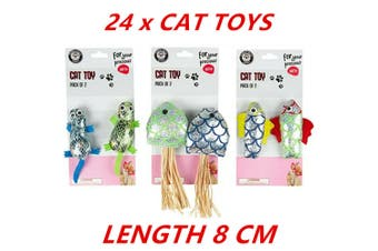 24 x Cat Toy Interactive Pet Kitten Pussy Play Scratch Chase Play Chew Fun 8cm