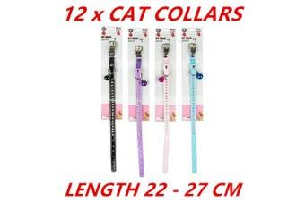 12 x Cat Kitten Puppy Collars Pet Breakaway Paw Print Adjustable Safety 22-27cm