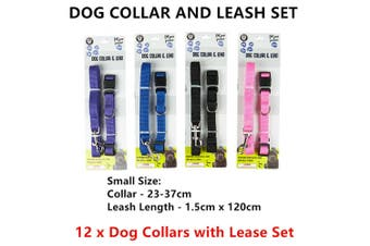 12 x Small Dog Collar and Lease Set 120CM Adjustable Lead Pet Puppy Cat Walk