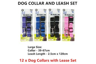 12 x Large Dog Collar and Lease Set 120CM Adjustable Lead Pet Puppy Cat Walk