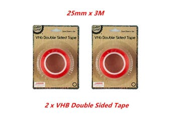 2 x VHB DOUBLE SIDED TAPE Adhesive 25mmx3M Red Clear Transparent High Strength