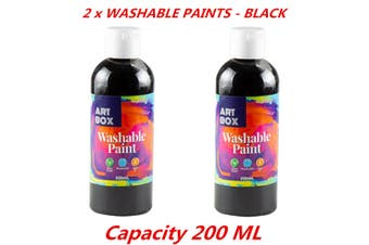 2 x Acrylic Black Color Artist Washable Paint Art Craft Radical Water Base 200ml