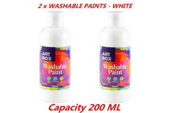 2 x Acrylic White Color Artist Washable Paint Art Craft Radical Water Base 200ml
