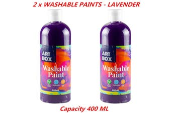 2 x 400ml Lavender Kids Washable Craft Paint Student Water Based Art Non Toxic