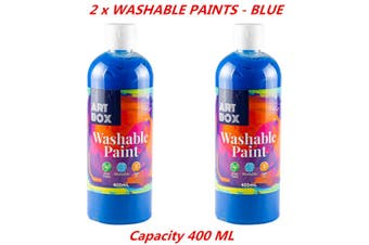 2 x 400ml Blue Kids Washable Craft Paint Student Water Based Art Non Toxic