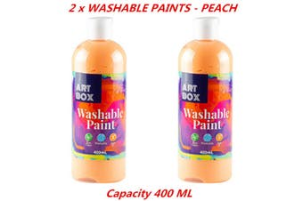 2 x 400ml Peach Kids Washable Craft Paint Student Water Based Art Non Toxic