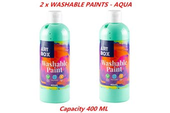 2 x 400ml Aqua Kids Washable Craft Paint Student Water Based Art Non Toxic