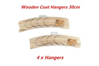 4 x Kids Craft Wooden 4-Hooks Hanger 30cm Clothes Coat DIY Wood Home Decor