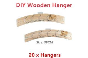 20 x Wooden Clothes Hangers 38CM DIY Craft Coat Shirt Dress Adult Wood Bulk