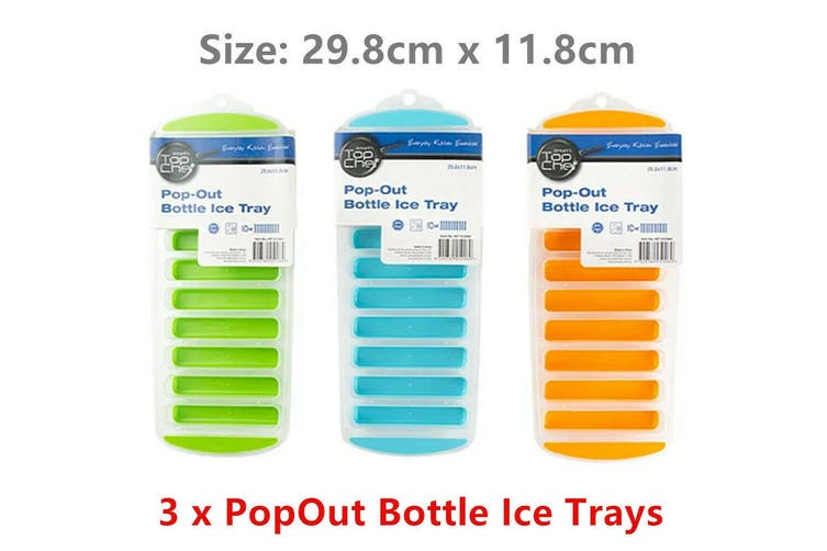 3 x Bottle Ice Cube Maker Trays Pop Out Tray Silicone Mould Block Drink Freezer