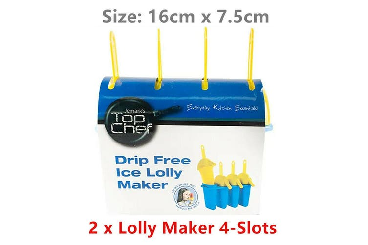 2 x Drip Free Lolly Maker 4 Slots Ice Cream Popsicle DIY Mould Cell Paddle Non