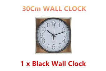 1 x Black Silent Round Wall Clock 30CM Quartz Battery Powered Home Room Decor Office Watch