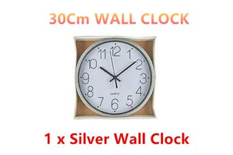 1 x Silver Silent Round Wall Clock 30CM Quartz Battery Powered Home Room Decor Office Watch
