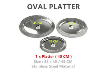 1 x 40cm Stainless Steel Oval Serving Platter Sandwich Catering Meal Silver Metal Tray