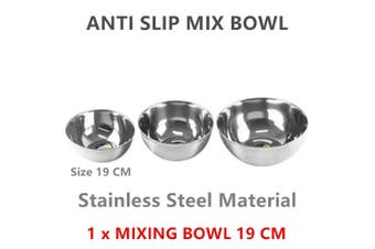 1 x 19cm Stainless Steel Kitchen Mixing Bowl Polished Round Salad Baking Dish Container