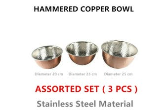 3 x Copper Hammered Mix Bowl Set Round Salad Bowls Fruit Stainless Steel Serving