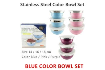 3pcs Blue Stainless Steel Kitchen Mixing Bowl Set Polished Round Container With Lids